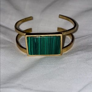 Madewell gold cuff with green stone